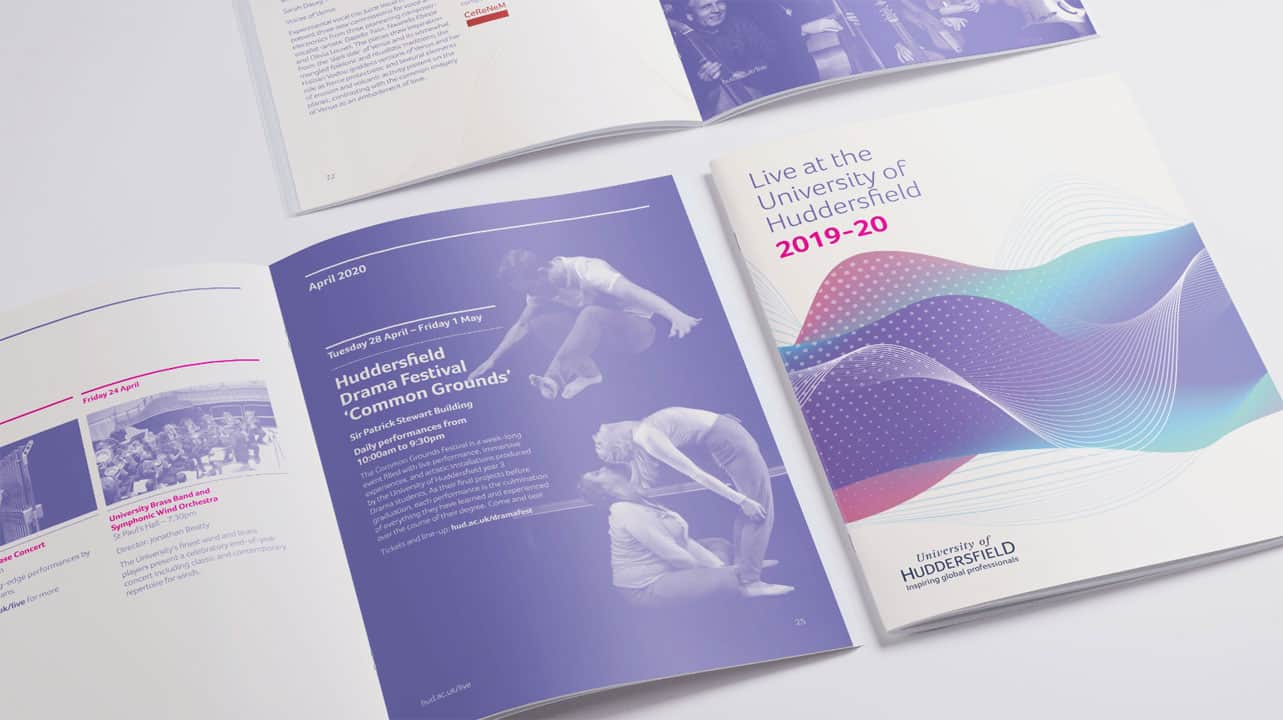 University of Huddersfield Live Brochure Design 52 degrees north
