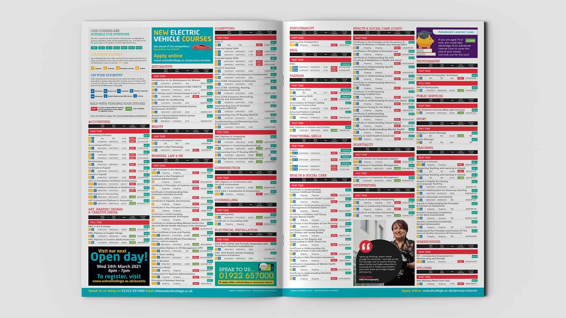 Walsall College Adult Campaign A4 Booklet Inner 1